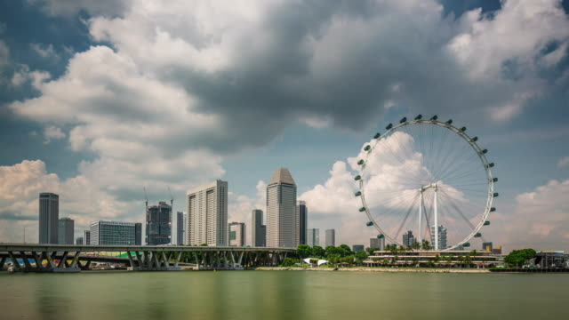 cloudy day light famous singapore flyer 4k time lapse