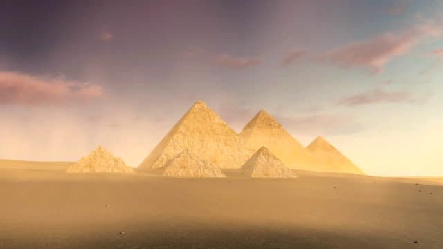 Cloudy sky over Great Pyramids of Giza at dusk or dawn video
