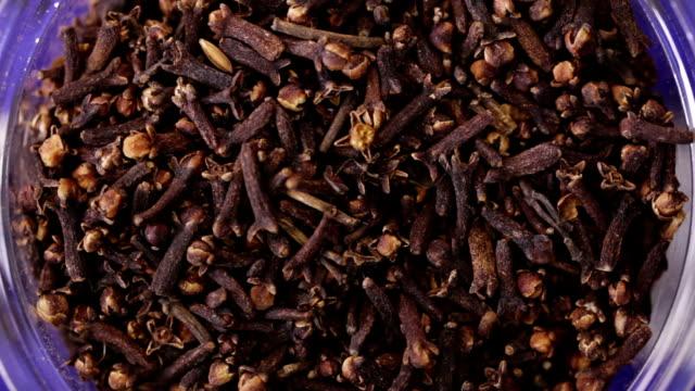 Clove spices. Kitchen herbs background video