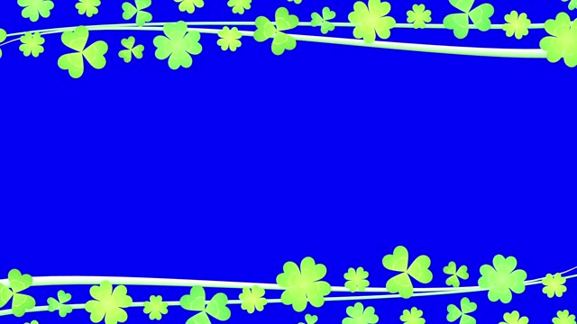 Clover flow frame line above under right alpha channel Clover material shamrock stock videos & royalty-free footage