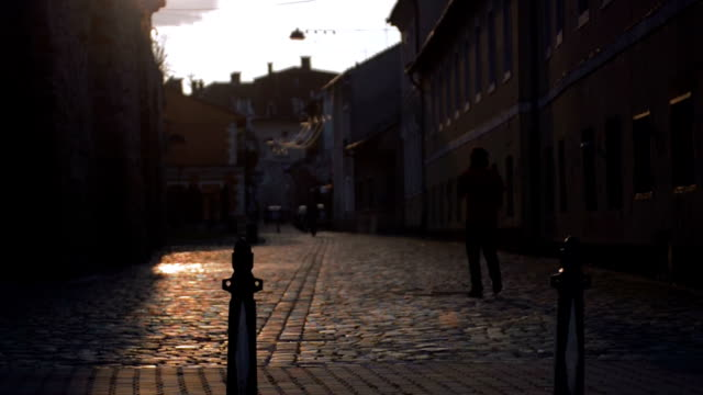 cluj cobbled street slow motion video