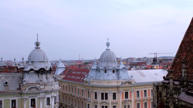 Cluj Napoca skyline pan left video