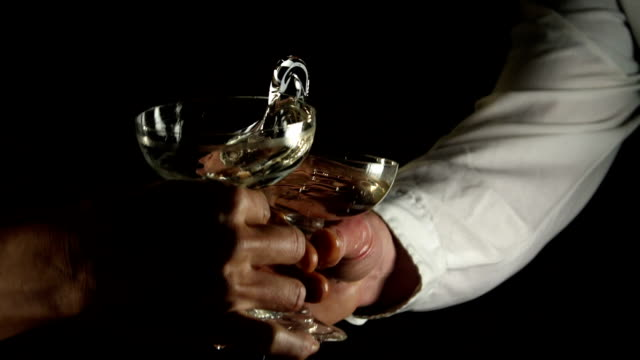 Clumsy toasting champagne coupes video