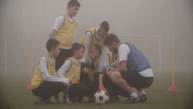 4K: Coach Giving Instruction To His Kids Soccer Team. video