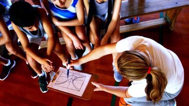 Video Coach instructing a students in basketball court