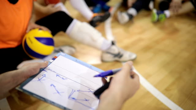 coach talking tactics - volleyball stock videos and b-roll footage