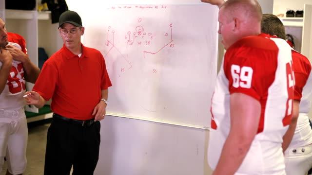 Coach talks to team in locker room