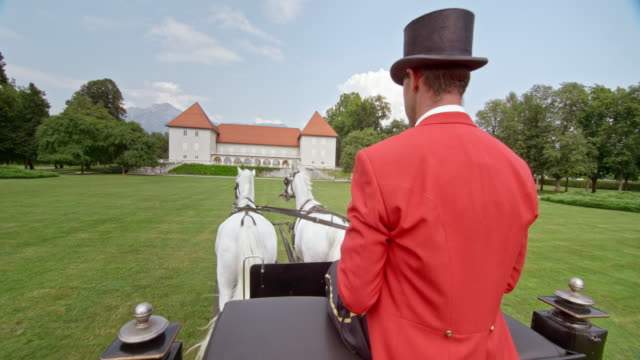 SLO MO Coachman driving the carriage towards castle video