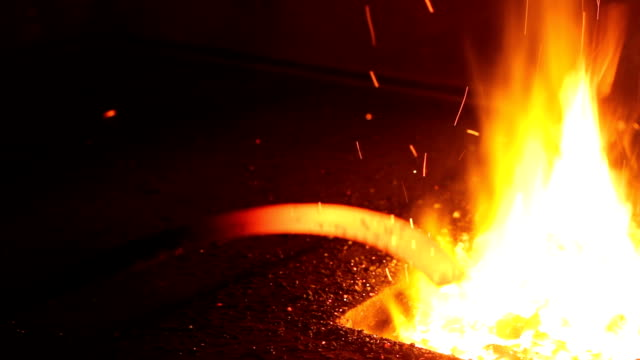 Coal Burning. Blacksmith Fire anvil stock videos & royalty-free footage