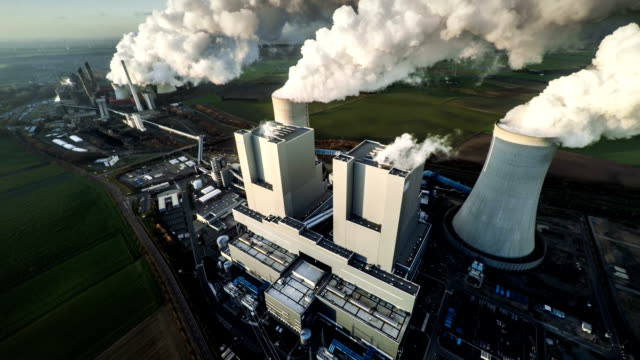 AERIAL: Coal fired power station video