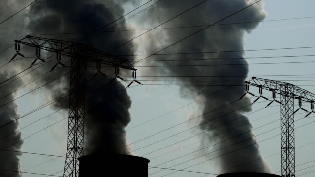 Coal Power Plant Fumes Rising Up