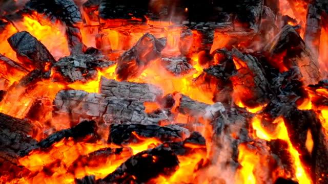 vídeos de stock e filmes b-roll de coals gravação em um incêndio - inflamável