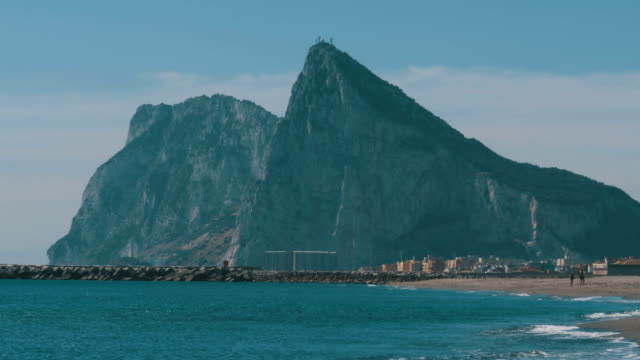 Coast of the sea on the border of Gibraltar between Spain and England video
