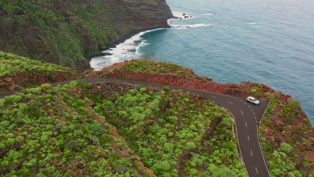 AERIAL WS Coastal road and cliffs / Canary Islands, Spain