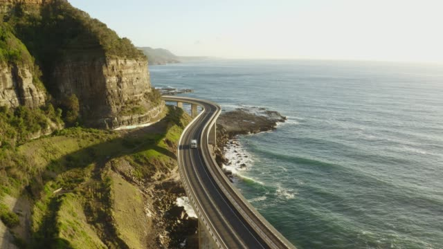 Coastal scenic drive along the sea cliff bridge Wollongong, Sydney, Australia civil engineering stock videos & royalty-free footage