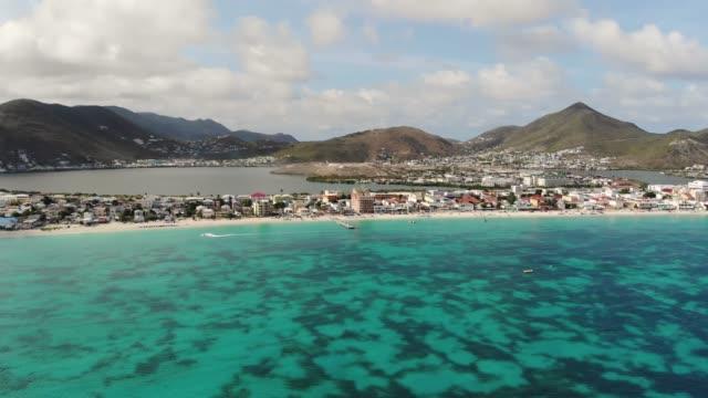 coastline and hills of the caribbean island - saint martin caraibi video stock e b–roll