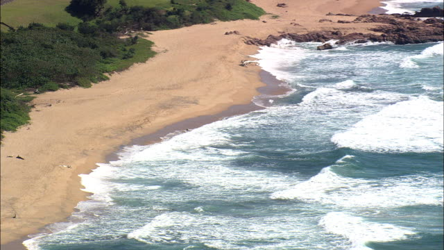Coastline Around Hibberdene  - Aerial View - KwaZulu-Natal,  South Africa This clip was filmed by Skyworks on HDCAM SR 4:4:4 using the Cineflex gimbal. KwaZulu-Natal,   South Africa natal stock videos & royalty-free footage