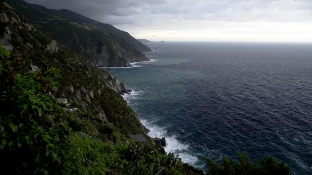 Coastline of Cinque Terre, beautiful view of rocks and sea, amazing landscape video