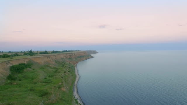 Coastline on Sea. Flight over the sea surface and cliffs video