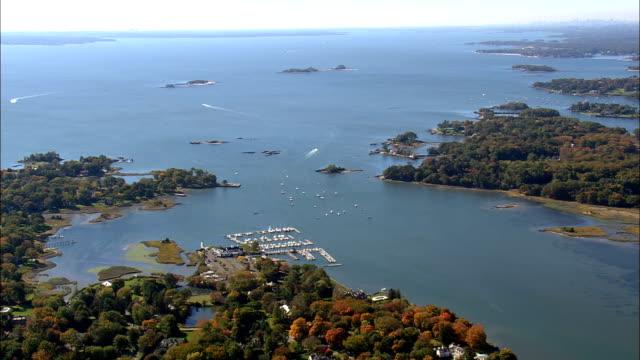 cob 항구 및 강어귀-조감도-코네티컷, 페어필드 카운티, 미국 - 지역 유형 스톡 비디오 및 b-롤 화면