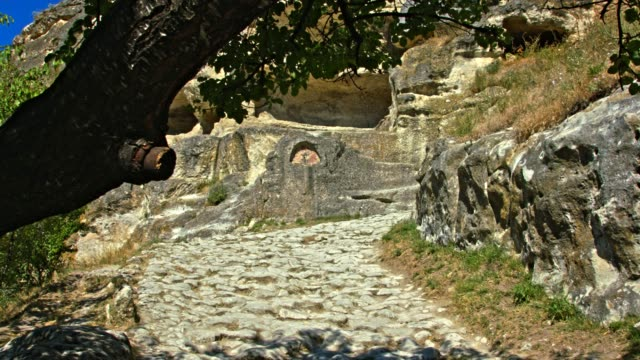 Cobbled pavement of the ancient city. video
