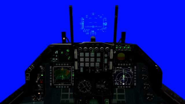 F-15 Cockpit and HUD Illustration on a Blue Screen Background video