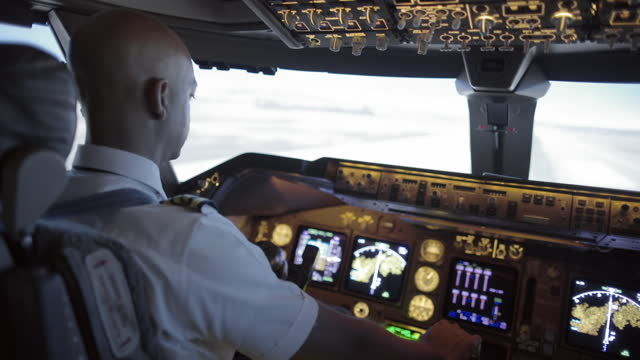 Cockpit view as African American pilot takes off in a jumbo jet video