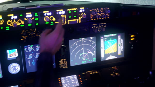 Cockpit, View Of Airline Pilot Cockpit, 4K Cockpit Radar, View Of Airline Pilot, Pilots Flying Cockpit View, Light cockpit stock videos & royalty-free footage