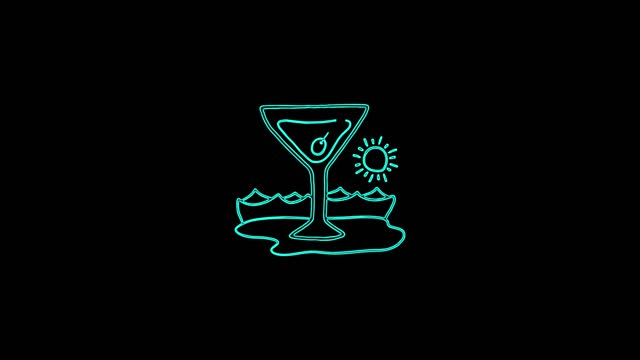 Cocktail drink icon animation lines on a black background. 4K video seamless neon line animation. Drinks food