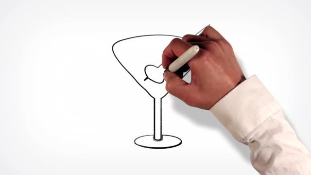 cocktail bere lavagna stile animazione stop motion - martini video stock e b–roll