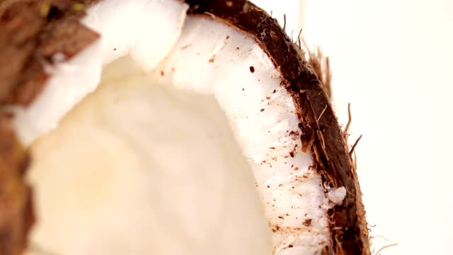 Coconut shell broken close up Coconut shell broken close up coconut palm tree stock videos & royalty-free footage