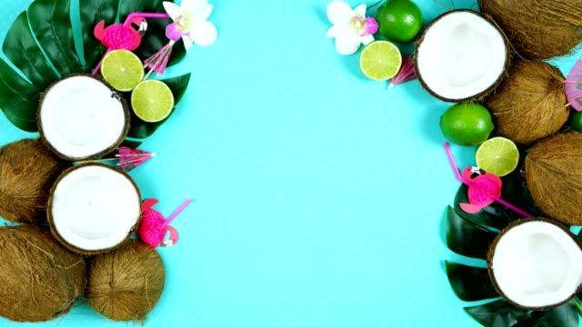vídeos de stock e filmes b-roll de coconut summertime theme flat lay creative layout overhead. - oleo palma