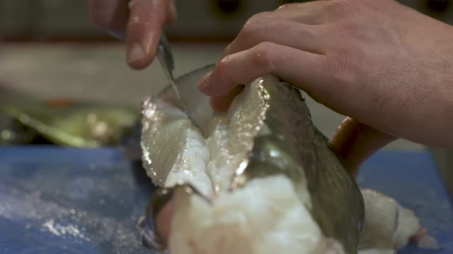 vídeos de stock e filmes b-roll de cod fish being slice by a chef in a kitchen of a restaurant. we can only see the hands of the cook cutting the raw fish - close-up view - cooking and food concept - cod