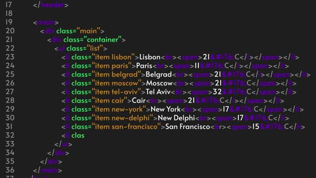 HTML code, programmer Java language. Program code animation