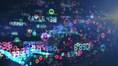 vidéos et rushes de les numéros de codes 4k aime et les partages de l'arrière-plan des médias sociaux - nombre