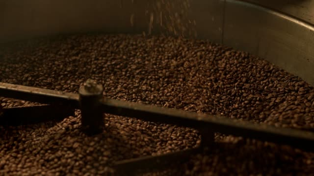 Coffee bean roaster at work in a production room video