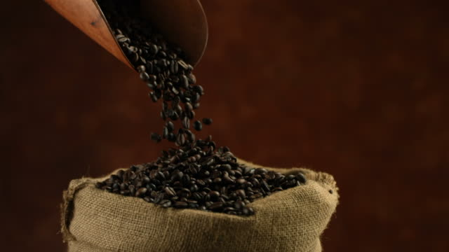 Coffee beans falling from scoop, slow motion video