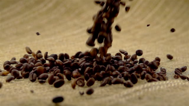 Coffee Beans Falling on the Sack. video