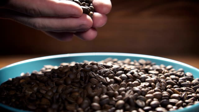 Coffee beans falling to ceramic plate from man's hands, slow motion. video