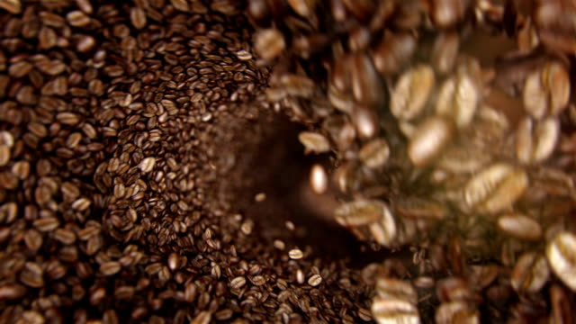 Coffee beans falling wave video
