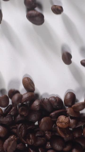 (vertikal) kaffeebohnen füllen sich voll auf weißem hintergrund - rohe kaffeebohne stock-videos und b-roll-filmmaterial