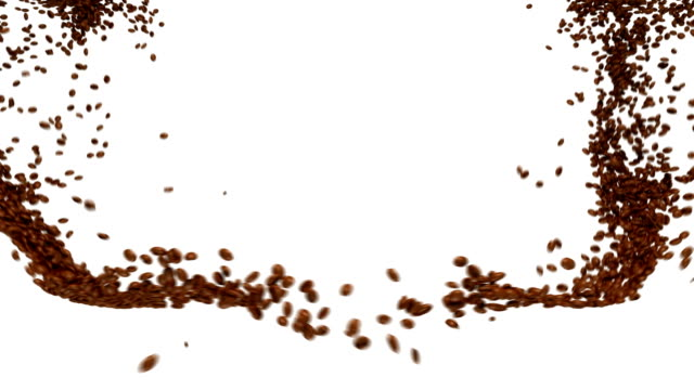 Coffee beans flow with slow motion Coffee beans flow with slow motion over white hovering stock videos & royalty-free footage