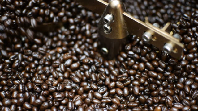 Coffee beans in roaster coffee beans machine video