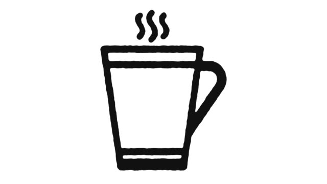 coffee break icon animation footage & alpha channel - pausa caffè video stock e b–roll