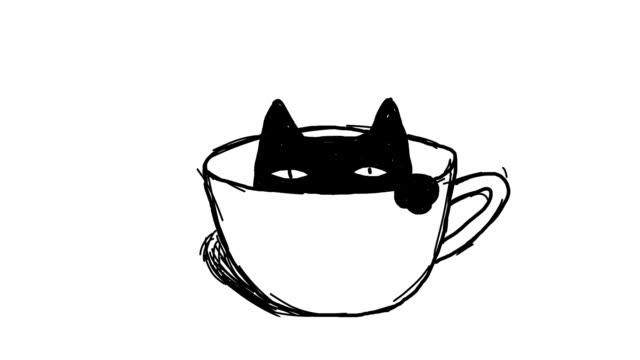 coffee cat - набросок стоковые видео и кадры b-roll
