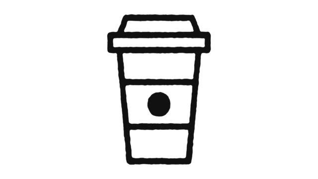 Coffee Cup Icon Animation Footage & Alpha Channel