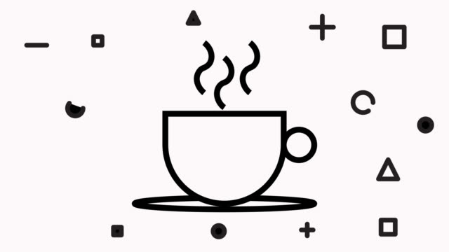 coffee cup line icon animation with alpha - pausa caffè video stock e b–roll