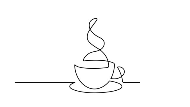 Coffee cup smoke Simple animation of continuous line drawing coffee cup. Motion of smoke. Drawing by hand, black lines on a white background. continuity stock videos & royalty-free footage