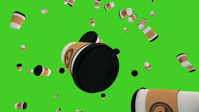 Coffee Cups Falling on Green Screen Background. 4K Coffee Cups Falling on Green Screen Background. 4K. coffee cup stock videos & royalty-free footage