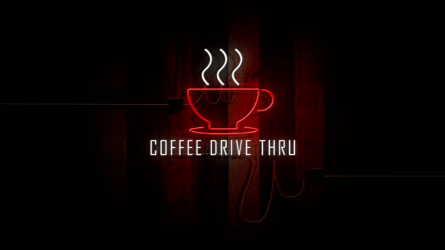 coffee drive thru sign neon lights on wooden wall vintage
